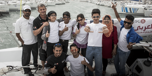 Children from Rashid Center for Disabled Children visit the teams