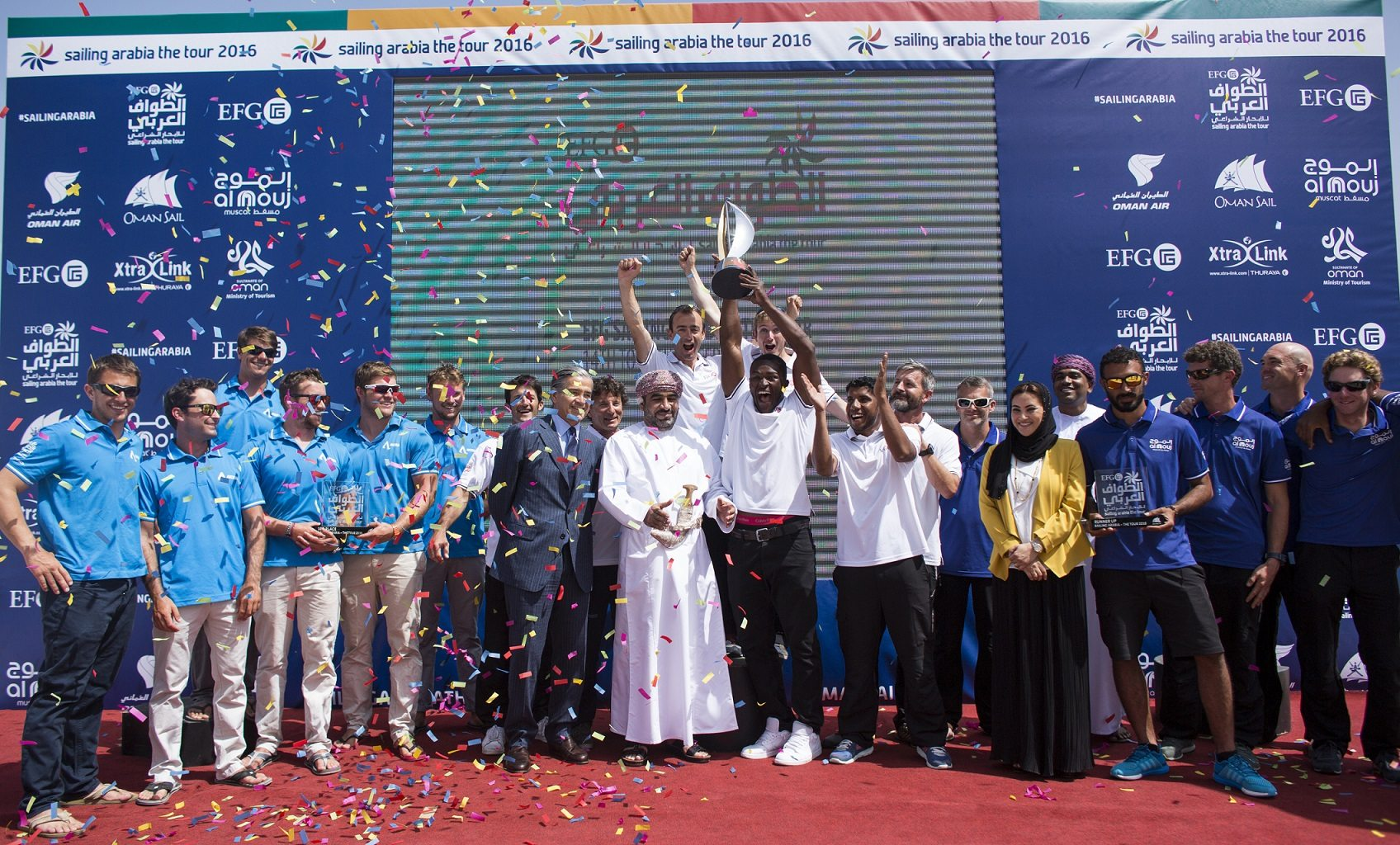 EFG Sailing Arabia - The Tour 2016 Pictures of there closing ceremony today at the Oman Sail HQ. Overall position for the race 1st EFG Bank Monaco skippered by Sidney Gavignet (FRA), 2nd Al Mouj, Muscat skippered by Nico Lunven (FRA), 3rd Team Averda skippered by Marcel Herrera (GBR)